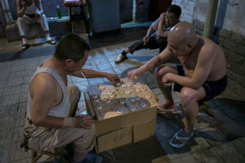 men,playing,game,street,board, Beijing,China,MIke Pratt Photography