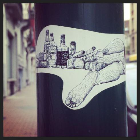 Drawing,poster,pole,street,foot,toes,Brussels, Belgium